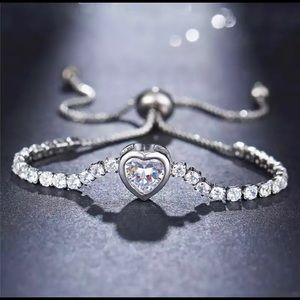 Jewelry - Silver color cubic zirconia charm bracelet